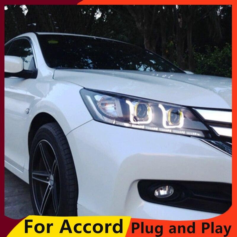 KOWELL lampe de tête de style de voiture pour Honda Accord phare 2013 nouveau Accord phare LED DRL H7 D2H Hid Option Angel Eye Bi xénon
