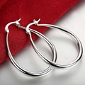 2016 New Top Quality Silver Plated & Stamped 925 smooth big U round circle Hoop earrings for women wholesale