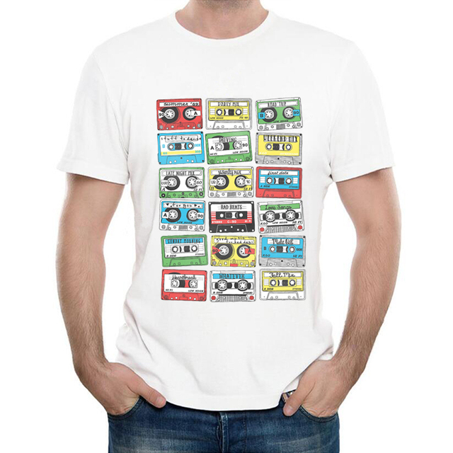 US $5 98 35% OFF|Newest Funny Retro cassettes Printed T Shirt Men's Funny  Creative 80's Music Playlist T Shirt Fashion Hipster Tee Tops-in T-Shirts