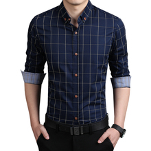 2016 New Autumn Fashion Brand Men Clothes Slim Fit Long Sleeve Shirt Plaid Cotton Casual Social Plus Size 5XL
