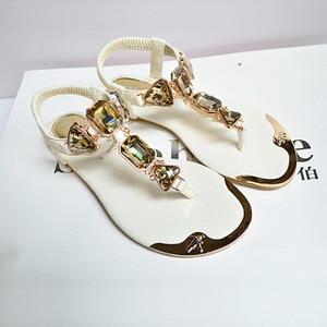 Image 2 - Summer Woman Sandals 2020 high quality Rhinestone women shoes flip flops ladies casual summer beach shoes women flats sandals