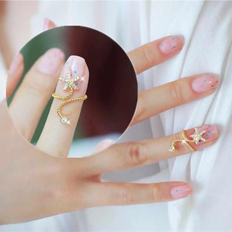 Nouveaux anneaux en cristal d'étoiles de mer à cinq branches pour femmes 8RD93