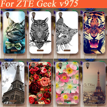 Fashion cartoon DIY painted colored flowers tiger lion Eiffel Tower design hard plastic case for ZTE Geek V975 Back Cover Case