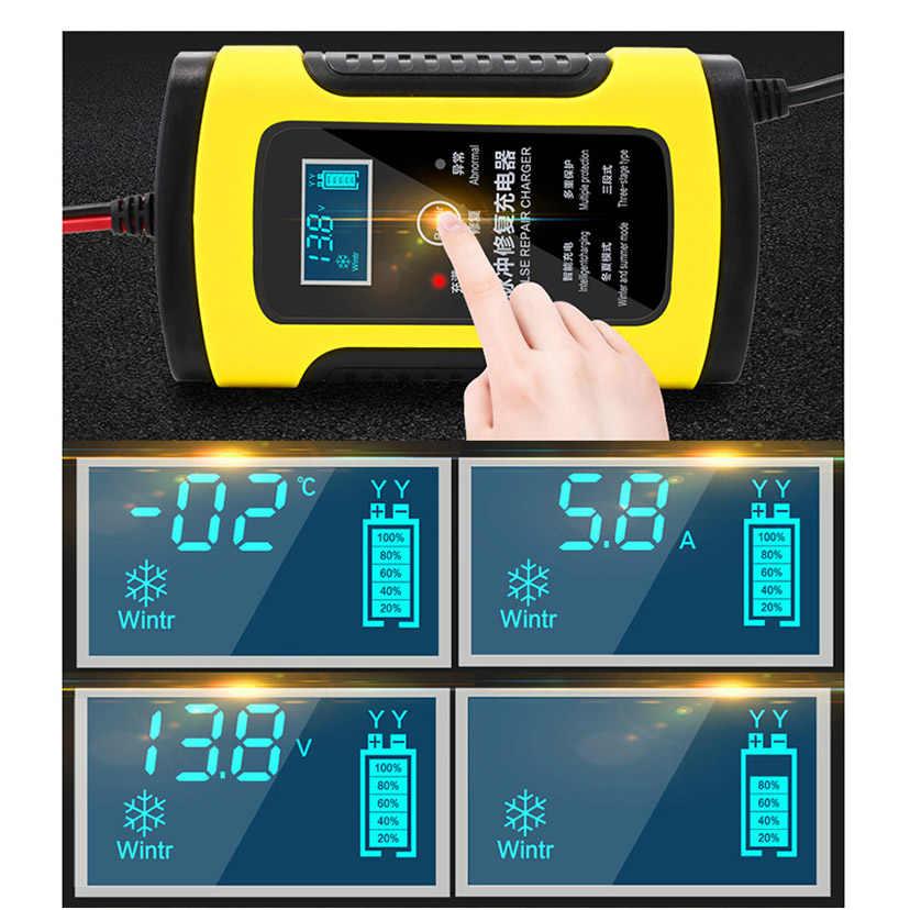 Maozua 12V 6A Thông Minh Trên Xe Ô Tô Xe Máy Thuyền Pin Sạc Dành Cho Tự Động Moto Lead-Acid Sạc Thông Minh 6A AMP màn Hình Hiển Thị LCD Kỹ Thuật Số