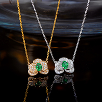 Caimao Natural Emerald Pendant Chain 14K White or Yellow Gold with 0.27ct H SI Diamonds Necklace