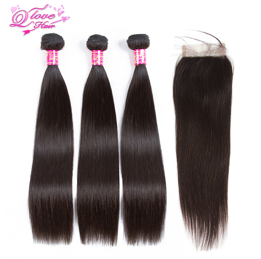 Queen Love Hair Straight Indian Hair 3 Bundles With Closure Hair Natural Color Weft Remy Human Hair Extension