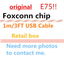 100pcs/lot New packaging box 100% Genuine Original 1m/3ft E75 Chip Data USB charger Cable for Foxconn i7 6 6s 5 With green label