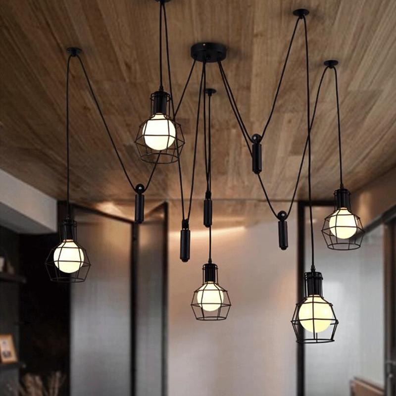 Loft Industrial spider lamp indoor home Decor pulley pendant light Kitchen  Coffee Bar Restaurant hanging ceiling lamps fixtures