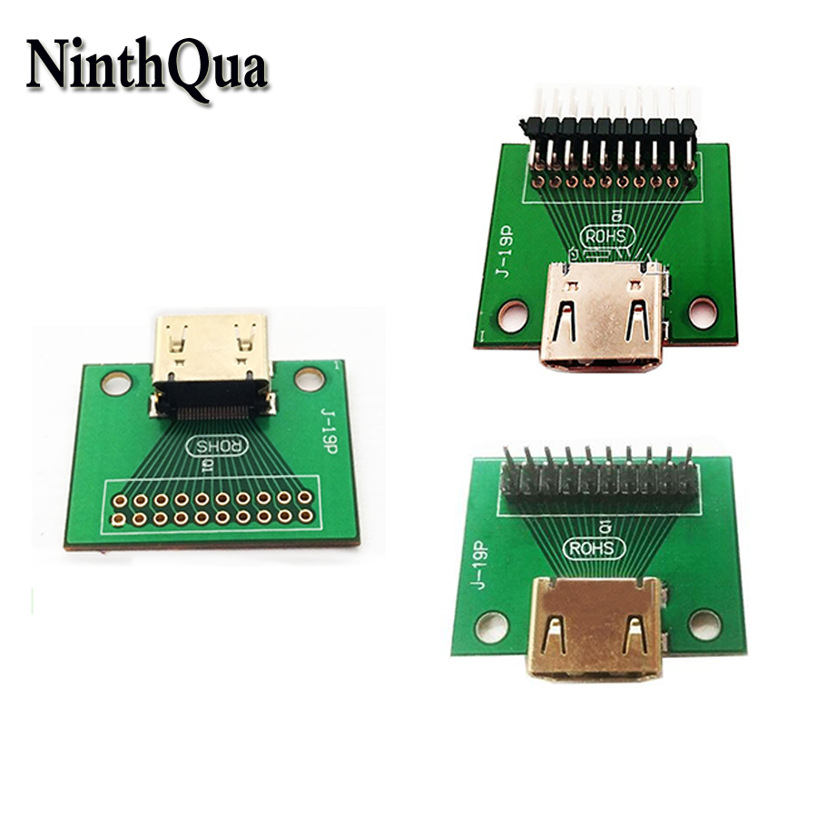US $1 66 6% OFF|1pcs Gold Plated HDMI 19Pin Test Socket Jack 19 Pin Adapter  test PCB board DIY Parts Straight Bend Feet-in Connectors from Lights &