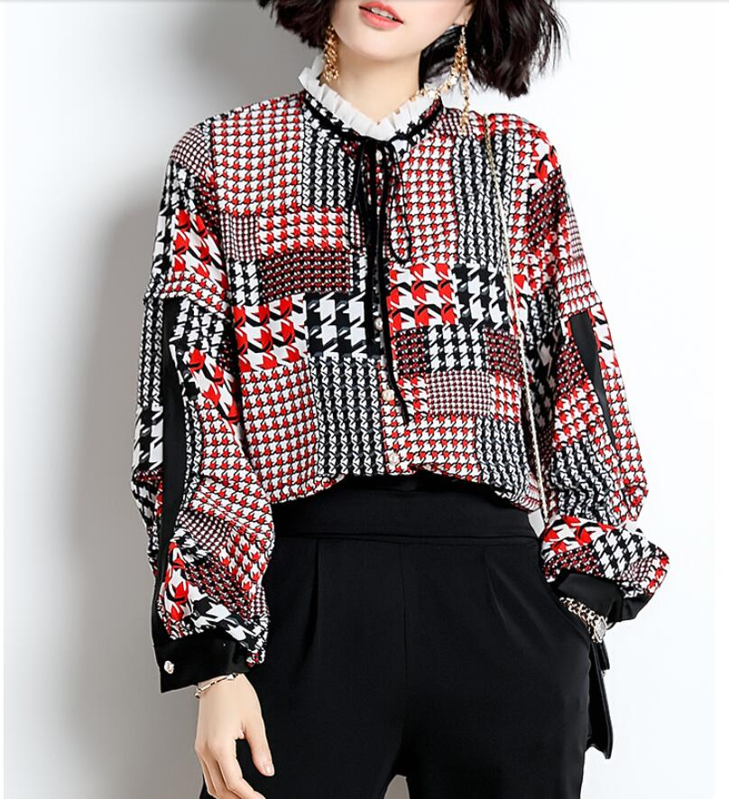 644551d1ba Vintage Camicia Poule Pied Collare Manica Della Magliette Chiffon Lunga Pan  Di Primavera A Donna De ...