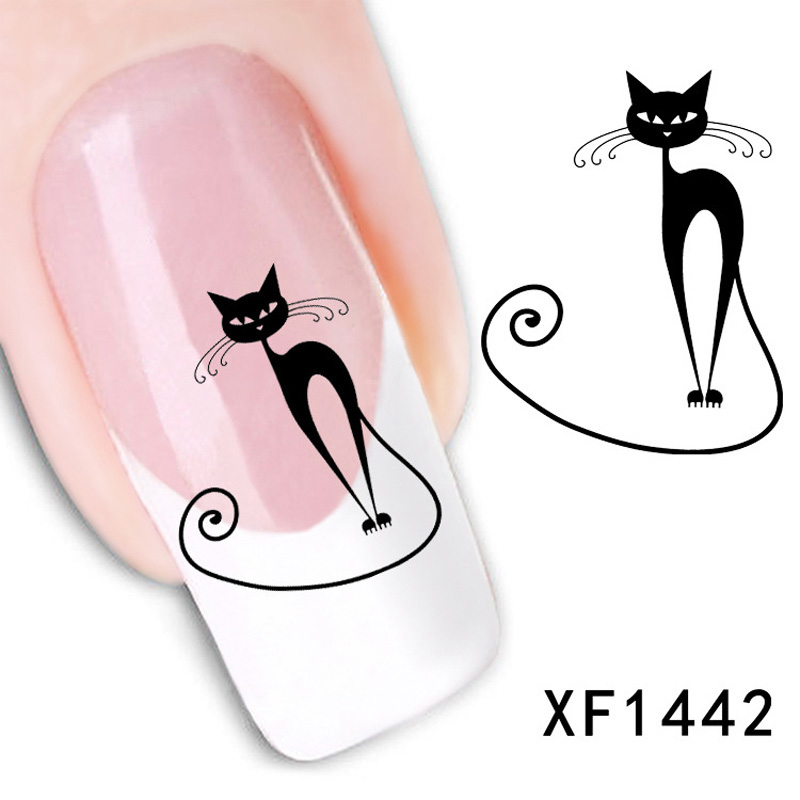 1pcs Style Watermark 3D Design Cute DIY Black Cats Tip Nail Art Decorations Water Transfer Nail Sticker Nails Decal Nail Tools