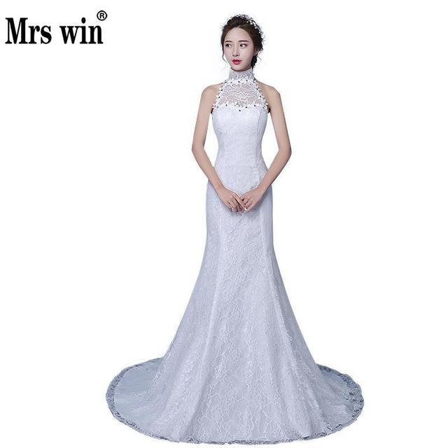 2018 New Arrival Halter Mermaid Wedding Dress Elegant Fishtail ...
