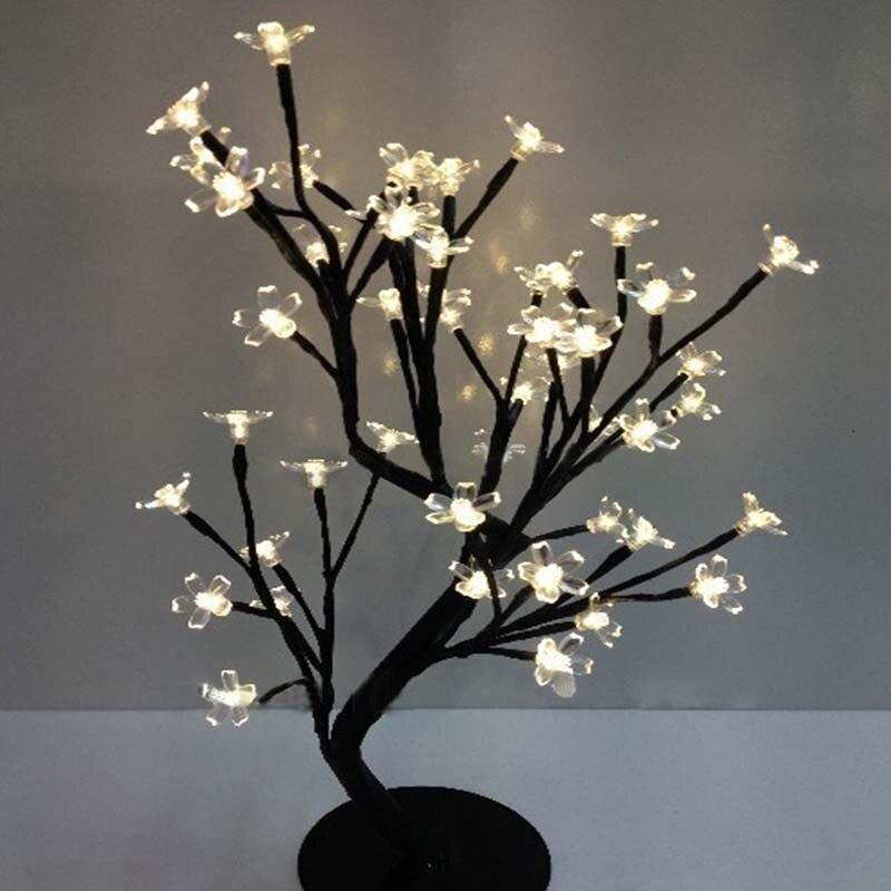Новый LED кристалл вишни дерево стол настольные лампы Крытый ночные огни Рождество Новый год Свадебная вечеринка Luminaria Декор
