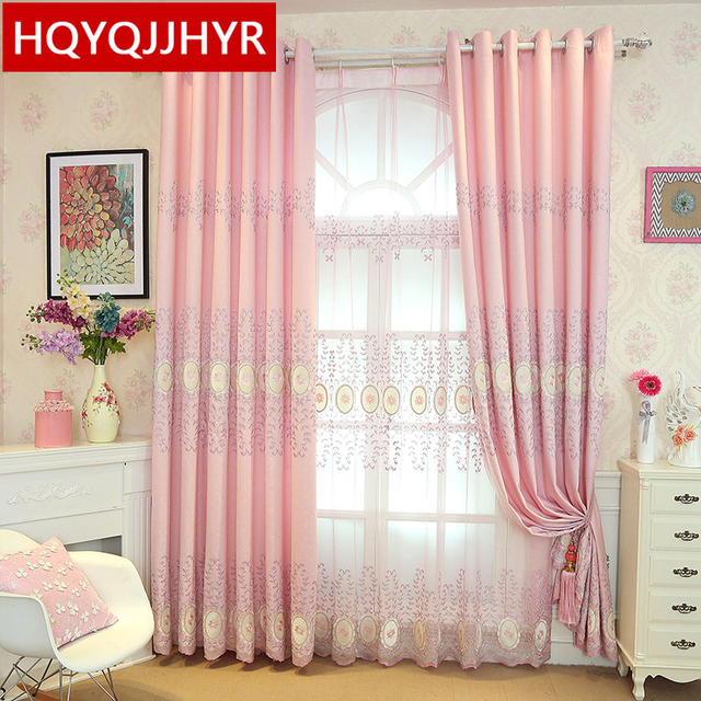 The new pink European embroidery curtain fabric for Living Room ...