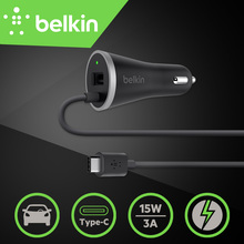5V/3A+1A New Belkin USB-C Universal Type-C Mobile Phone Car Charger with Built-in USB-C Cable(3A) with USB Port(1A) with Package