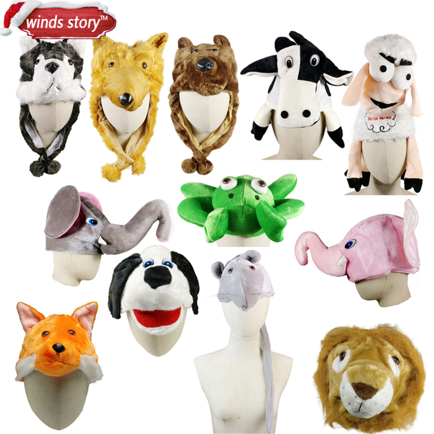 NEW 1PCS Cartoon Animal Hat Fluffy Plush Cap Earmuff Unisex Perfect Gift Women's Men's Party/Christmas Gift/Dress up the hat