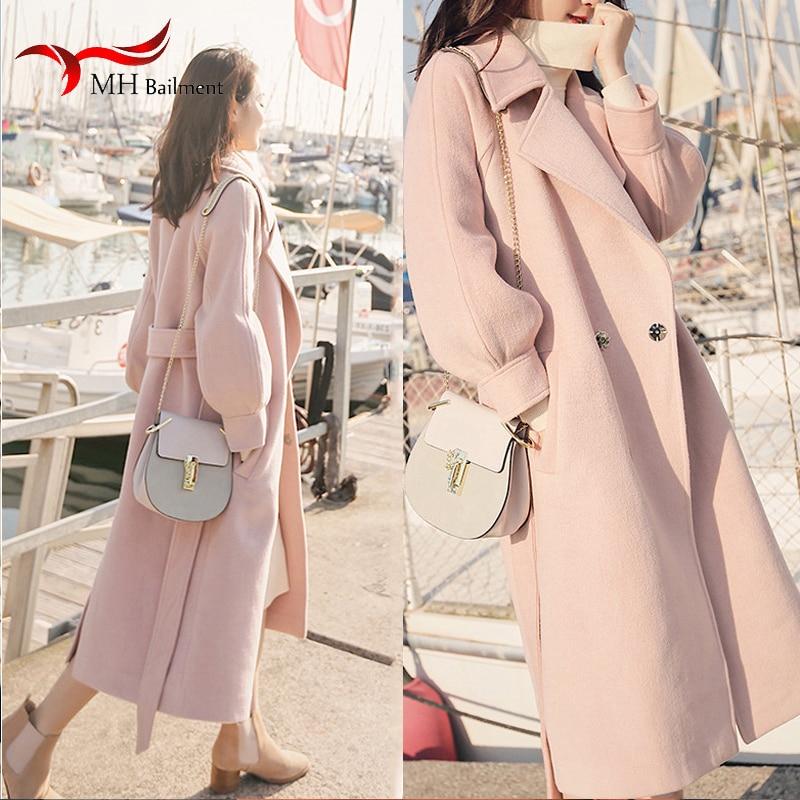 Women s winter long coat warm woolen coat simple fashion lapel ladies coat adjustable loose warm