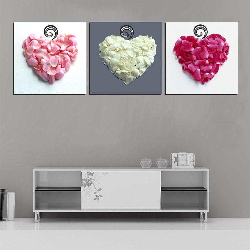 3 Panel Liefde Hart Bloemblaadjes Art Foto Canvas Slaapkamer Hoofd Van Bed Muur Decoratieve Canvas Schilderij No Frame