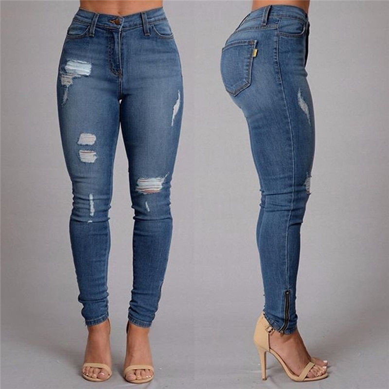 Helisopus Fashion Women's Denim   Jeans   Stretch High Waist Hole Ripped Pants Ladies Cotton Denim Slim Skinny Pencil Trousers