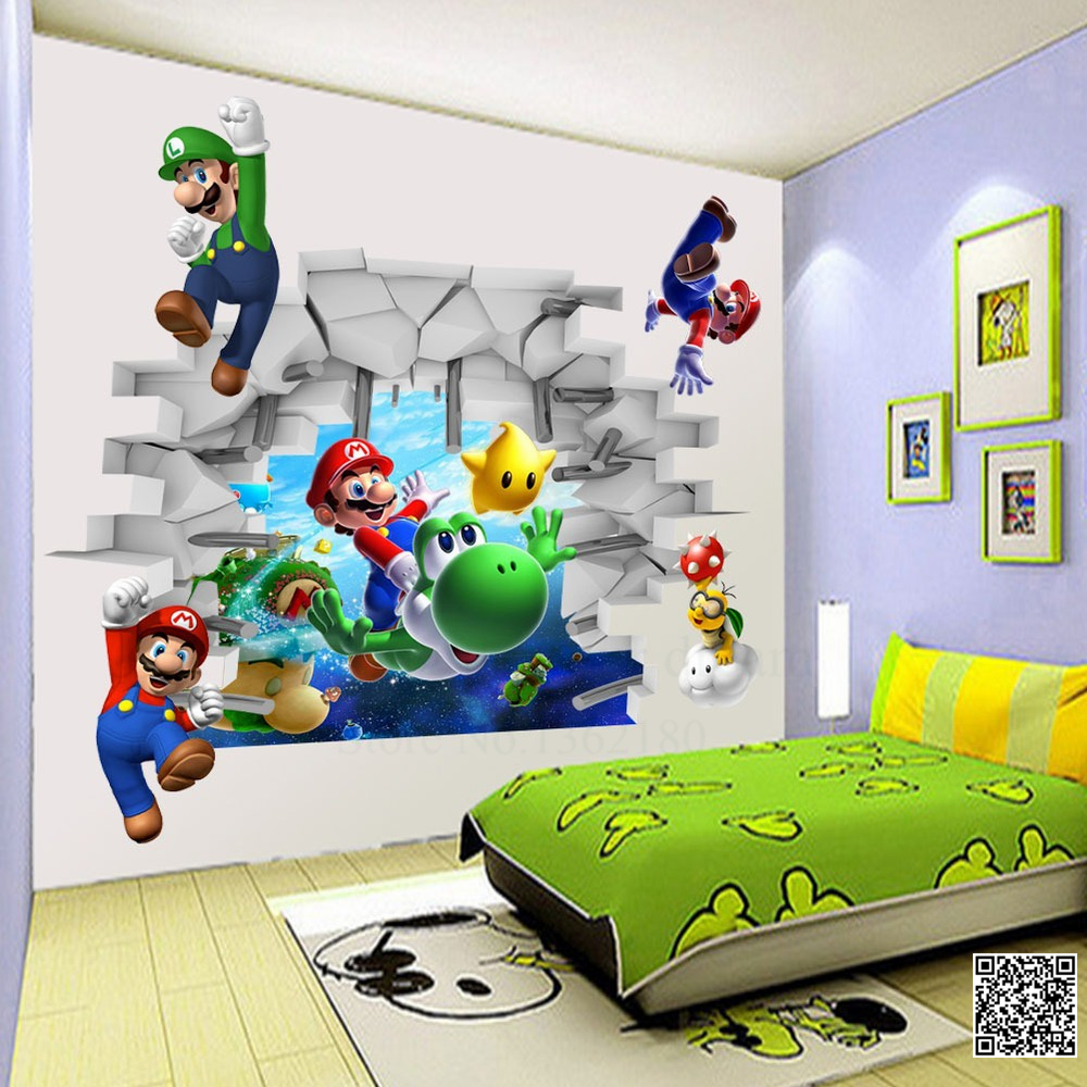 DIY Super Mario Bros Wall Stickers PVC Cartoon Games Decals 3D Nursery Art  Wall Mural Wallpaper Home Decor for Kids Bedroom-in Wall Stickers from Home  ...