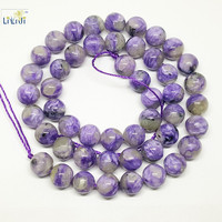 Natural Stone Charoite Round Shape Beads About 8mm DIY Jewelry Making