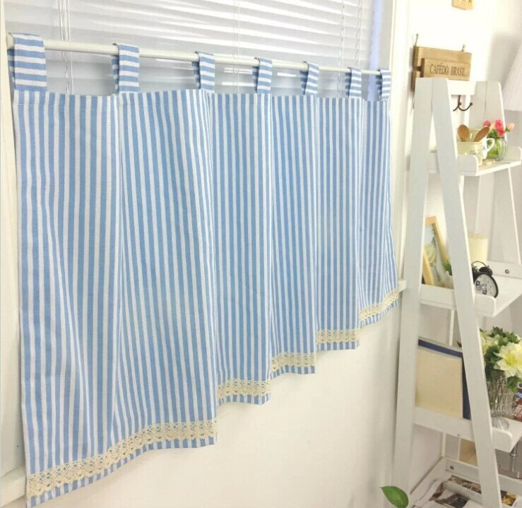 Buy 100 Cotton Blue And White Stripe Curtain Short Kitchen Curtain With Lace