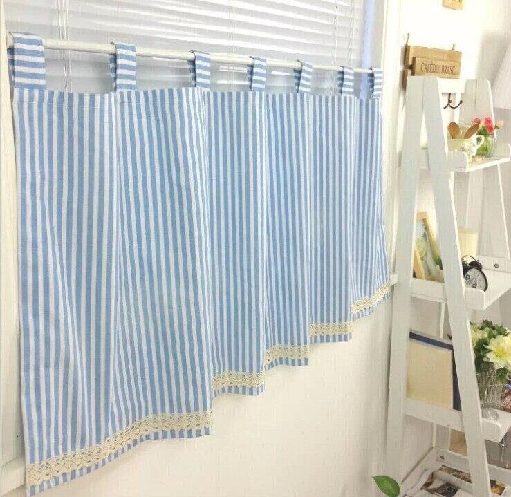 100% katoen blauw witte streep gordijn korte keuken gordijn met kant ...
