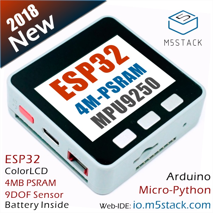 M5Stack 4M-PSRAM ESP32 Development Board With MPU9250 9DOF Sensor Color LCD For Arduino Micropython With 150mAh Battery