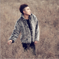 Vintage Mens Faux Fur coat long sleeve open stitch Men Faux Fur winter warm coat jacket Casual thicken grey Mens Rabbit Fur Coat