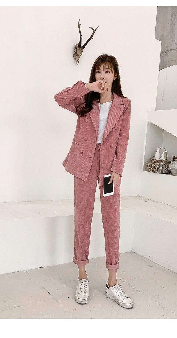 70713ede858 New Work Corduroy Fashion Pant Suits Women 2 Piece Set for Female Vintage Blazer  Jacket   Trouser Office Lady Suit Feminino
