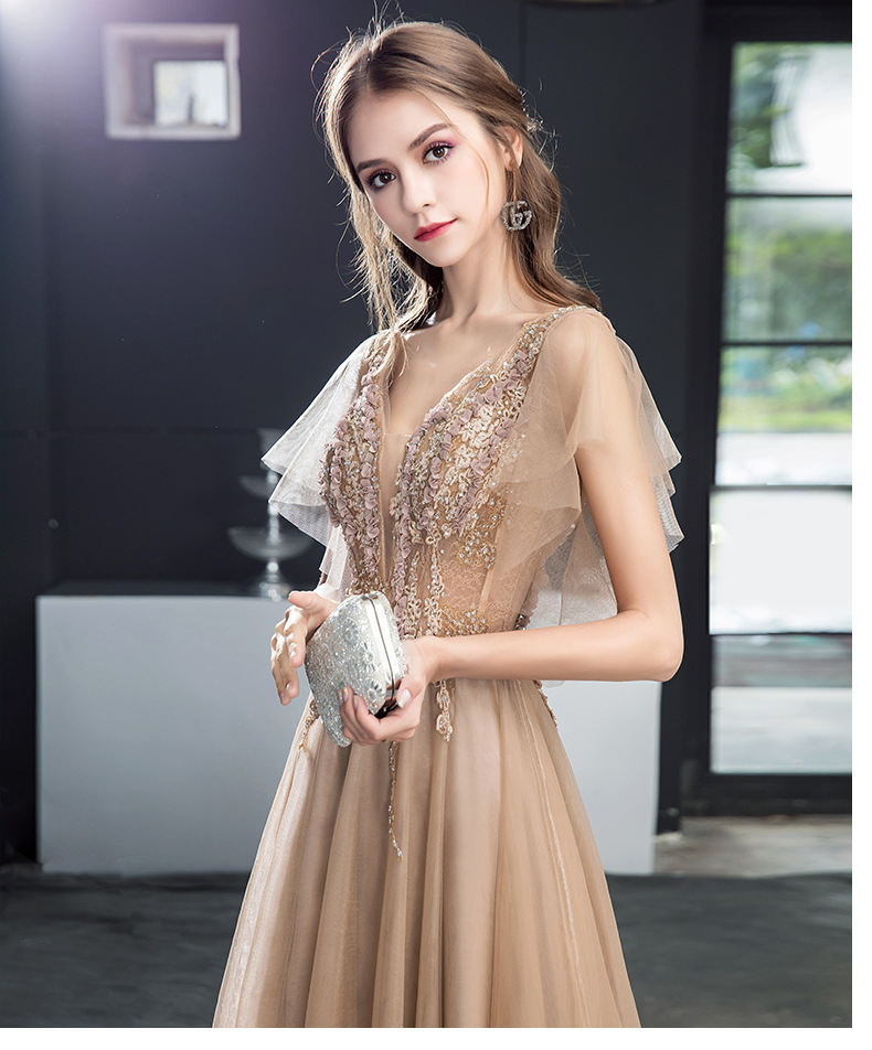 Xunyang Lace Evening Dress The Bride Banquet Sweety V-neck Short Sleeves Embroidery Long Party Prom Dress Robe De Soiree Custom
