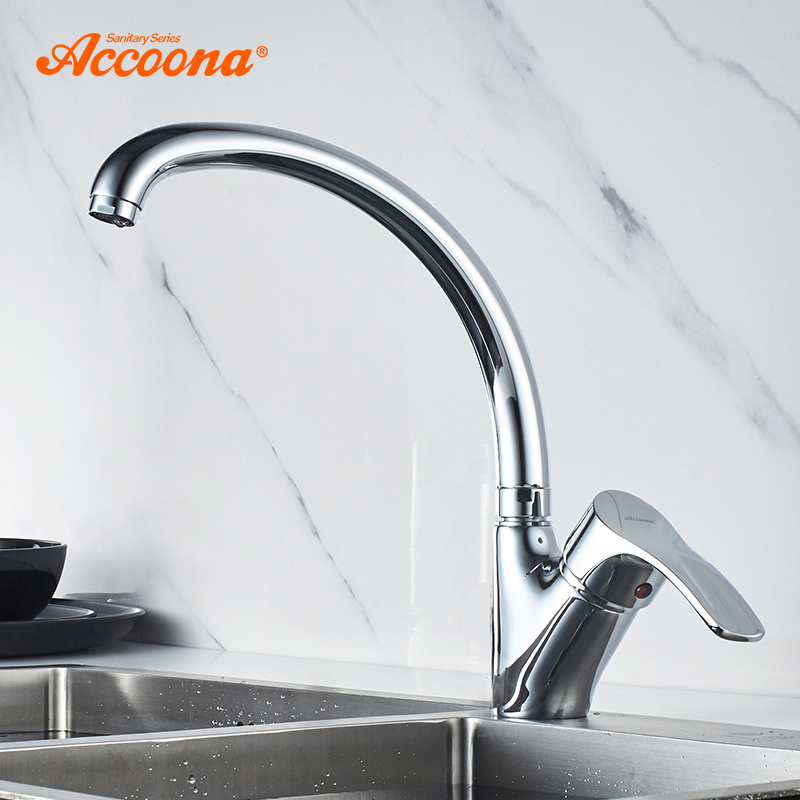 Accoona Solid Brass Kitchen Faucet Hot and Cold Water Tap Kitchen Basin Sink Faucets Single Handle Water Mixer Tap Crane A4003