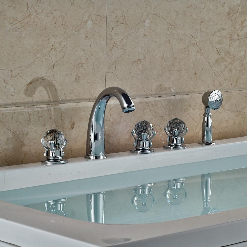 Luxury Deck Mounted Brass Chrome Polish Bath Tub Faucet 5pcs W/Hand Shower widespread brass chrome finish shower set bath tub shower units deck mounted 5pcs faucet