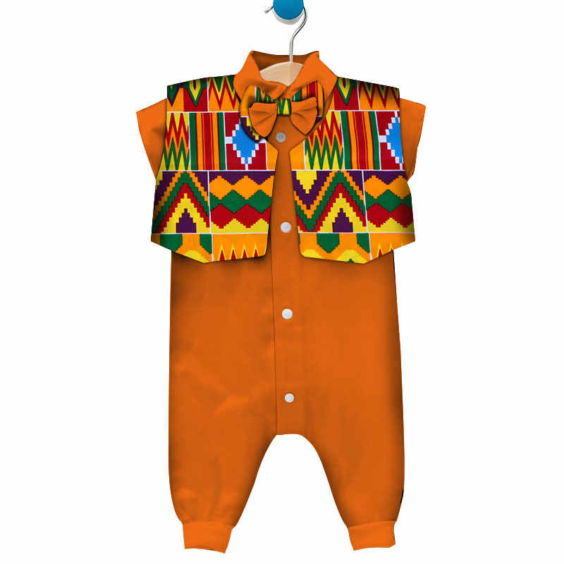 cb514b4829e ... 2 Pieces Set African Clothes for Baby Boy Rompers Bazin Riche Children  Kids Sleeveless Jumpsuit with