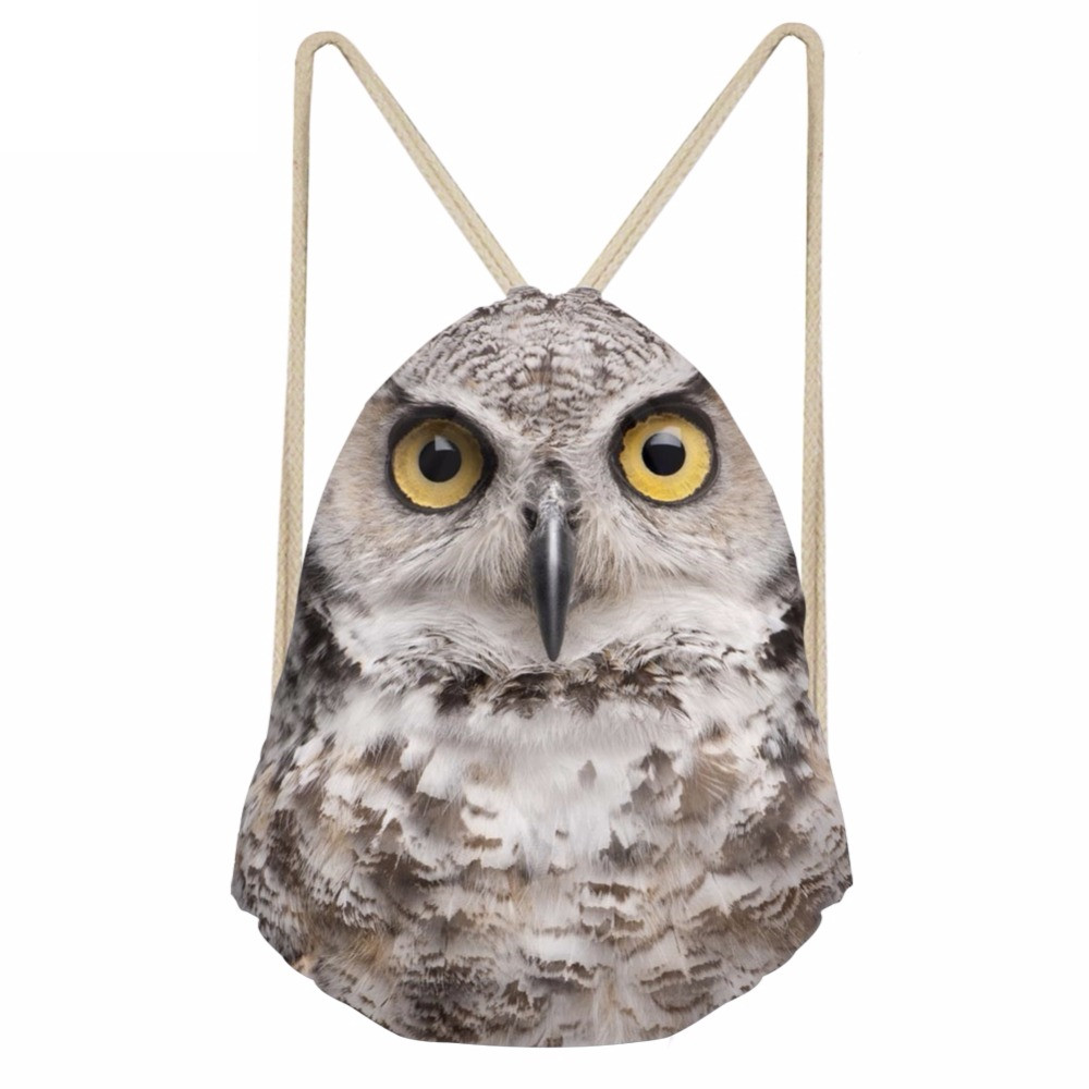 Cool 3D Animal Owl Mouth Printing Men Women Drawstrings Bags Casual Male Travel Beach Packpacks Bundle Storage BagSumka