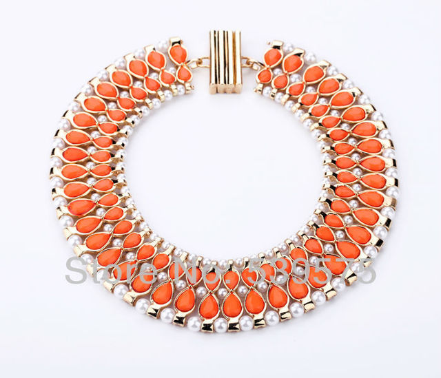 Chic New Hot Sale Fashion Vintage Gift Elegant Orange Rhinestone Alloy Choker Imitation Necklace