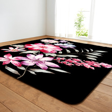 1PC Polyester Painted Flower Pattern Carpet for Living Room Kitchen Mat Bedroom Floor Door Decoration