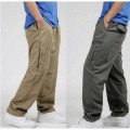 New Spring Summer Plus Size Men Cargo Pants Cotton Loose Trousers Men's Pants 3XL 4XL 5XL 6XL