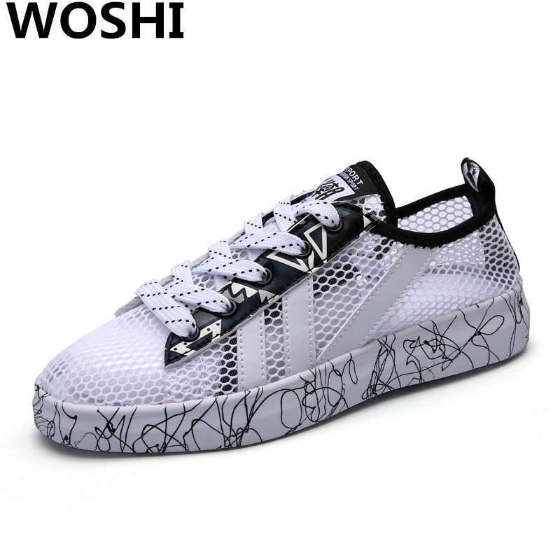 Summer Air mesh Casual Trainers breathable couples shoes women Loafers Sapato Feminin outdoor walking flats light lovers shoes 1 instantarts flats women shoes casual cool skull punk print women air mesh shoes sneaker breathable light indoor youth girl tenis