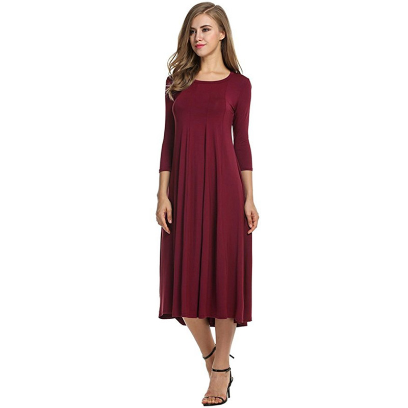 Autumn Elegant Women Dress Female Womens Holiday Party Ladies Casual 3/4 Sleeve Big Hem Dress ...