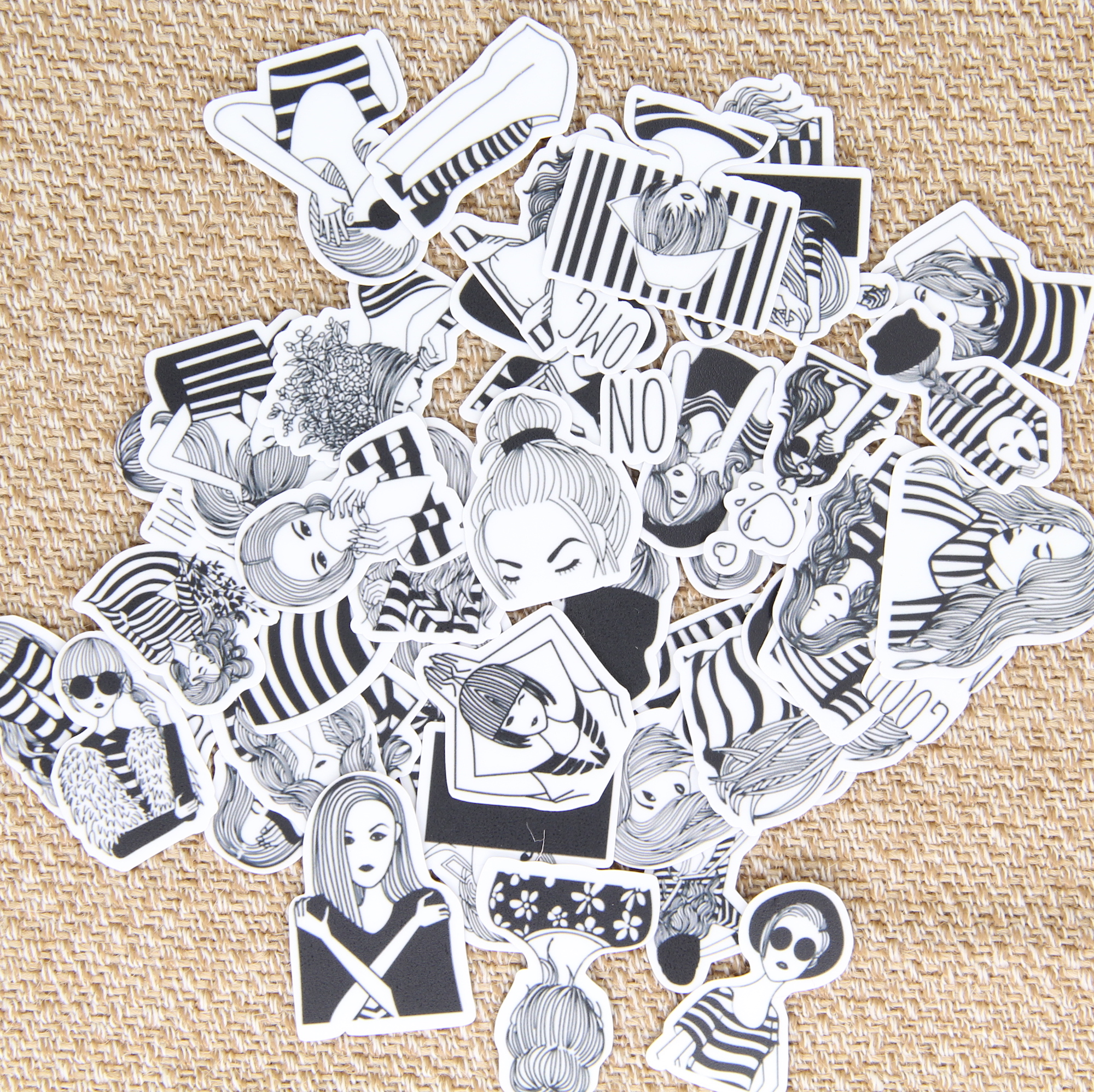 40pcs Self-made Black White Cool Women Lady Scrapbooking Stickers Decorative Sticker DIY ...