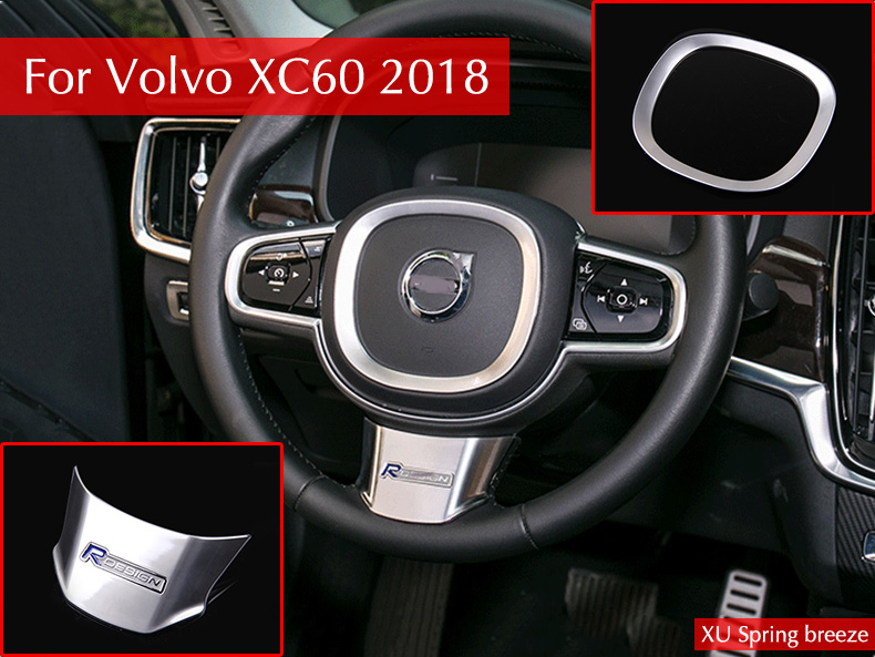 Car Steering Wheel Decoration Bright Circle Bezel Frame Sticker Car styling For Volvo XC60 2017 2018