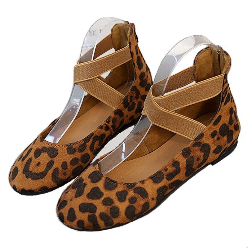 87c633527 Для женщин Csual обувь 2019 весенние и осенние новые леопардовые Женские  туфли на плоской подошве большой
