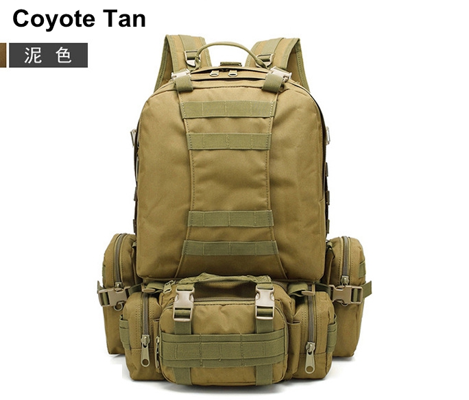 55L mountain climbing backpack combination double shoulder bag + waist bag + Sling Bag outdoor Tactical backpack Coyote Tan local lion spo464 outdoor cycling climbing ultra light breathable double shoulder bag backpack red