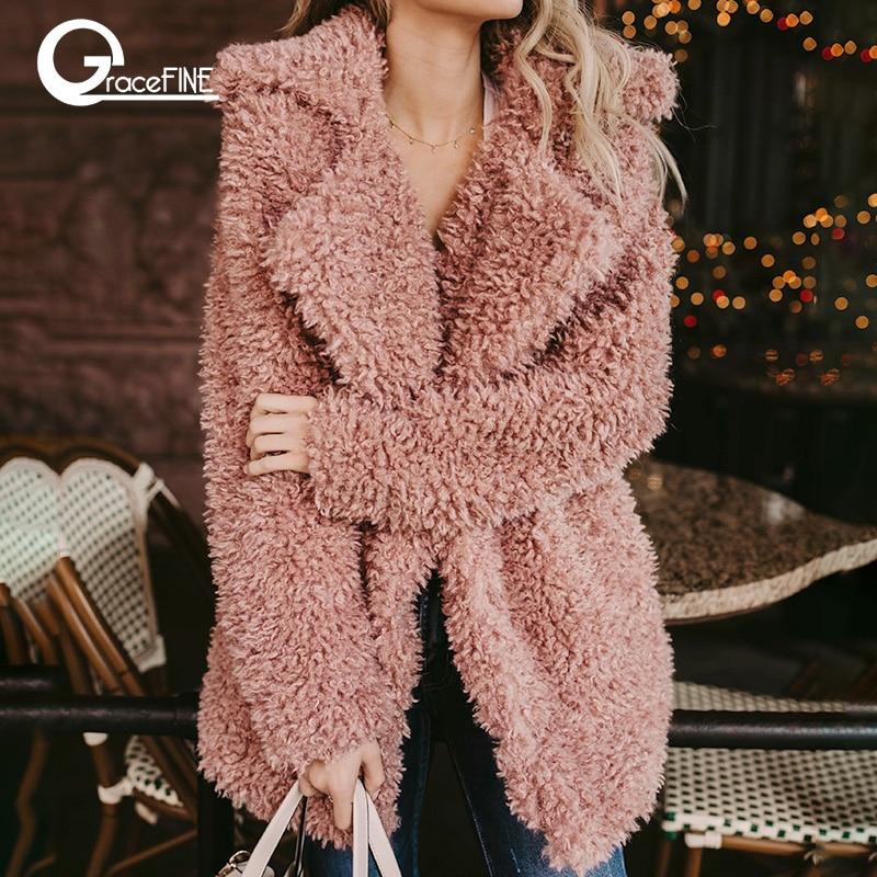 Largo mullido faux fur coat mujeres espesar invierno falso pieles streetwear Rosa negro moda femenina Streetwear Cardigan abrigos