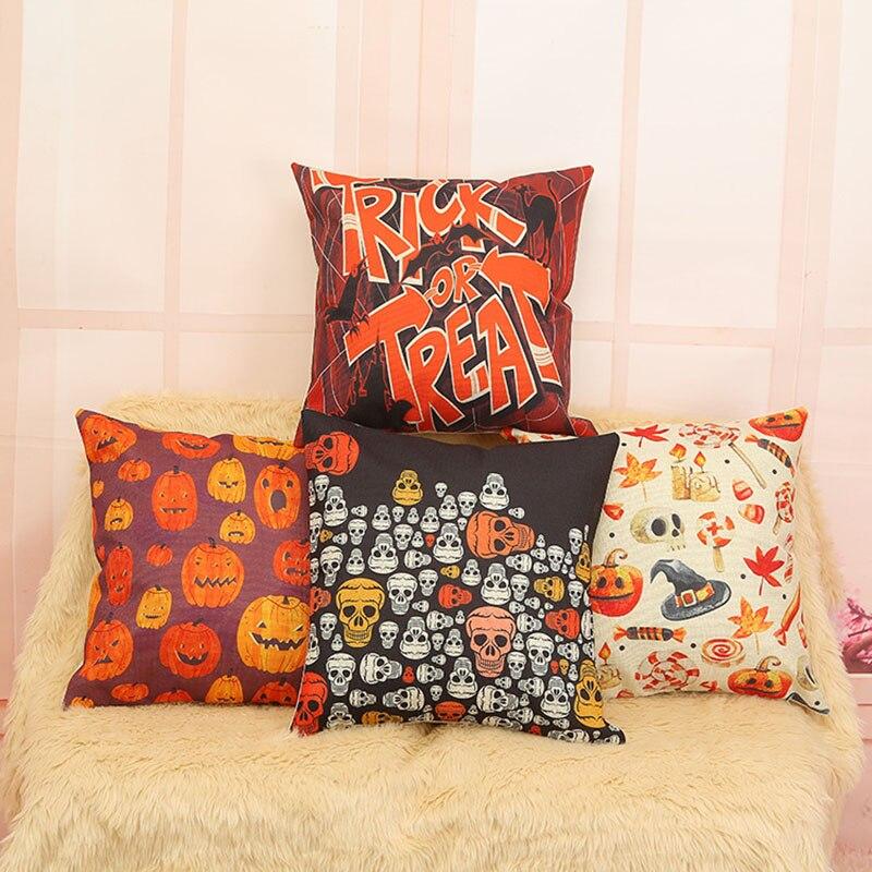 Хэллоуин фестиваль Чехлы для подушек площадь хлопка Подушки Детские случае Пледы Наволочки для диван автомобиля Домашний Декор F