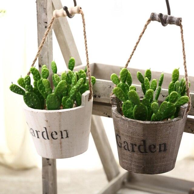 Past Style Wood Flower Tub 1pc Z Succulents Nursery Pots Planters Home Garden Hanging Baskets