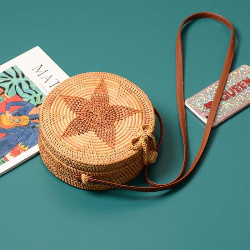 Летние цветочные круг ротанга соломенная сумка богемные летние пляжная сумка Для женщин маленькую сумочку 2018 ручной работы Кроссбоди кожи ...