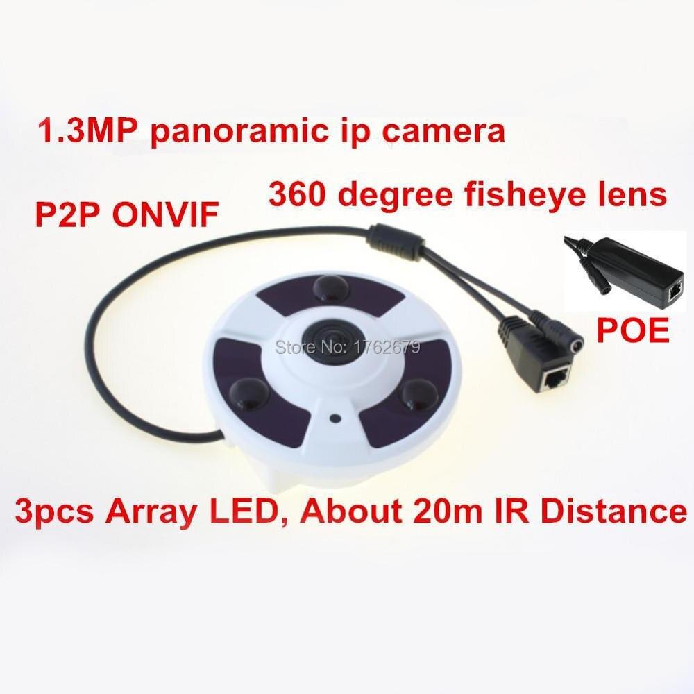 3pcs Array IR led night vision Fisheye 960p 1 3MP network PTZ view 360 degree panoramic