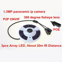 3pcs Array IR led night vision Fisheye 960p 1.3MP network PTZ view 360 degree panoramic POE ip camera wide angle